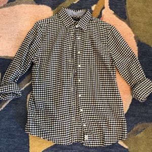 Lands End Mini Buffalo Check Flannel Black White